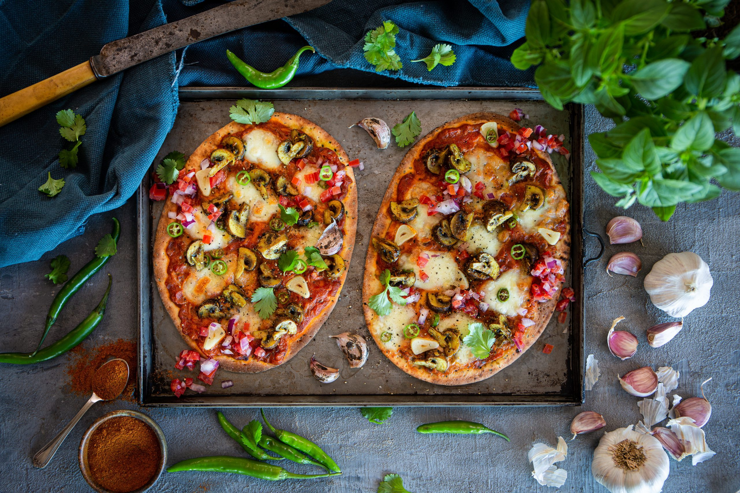 FOOD: Curried Mushroom Naan Pizza With Roasted Garlic & Chilli